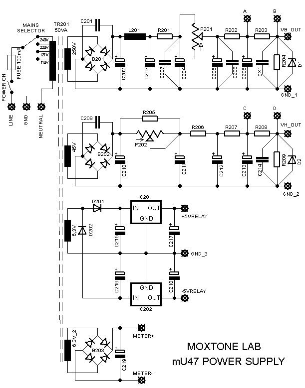 mU47 power supply schematic